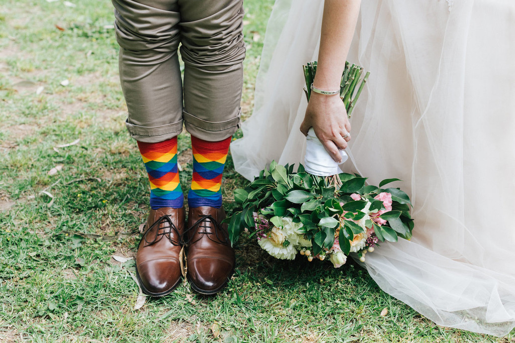 getting married in my rainbow argyle pride socks is my lucky day.  all my groomsmen are wearing the same rainbow wedding socks.