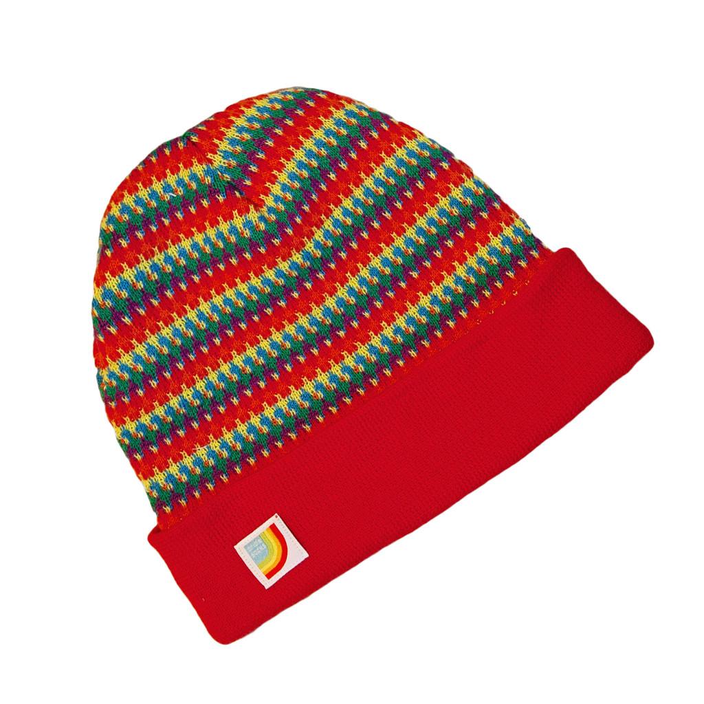 Pride Socks rainbow beanie worn to rock your fashion and trendy self.