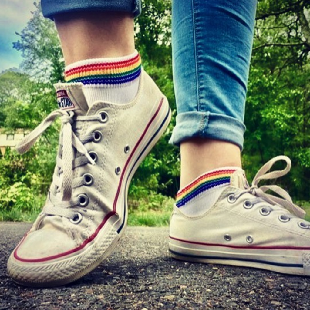 athletic rainbow pride socks look awesome with converse