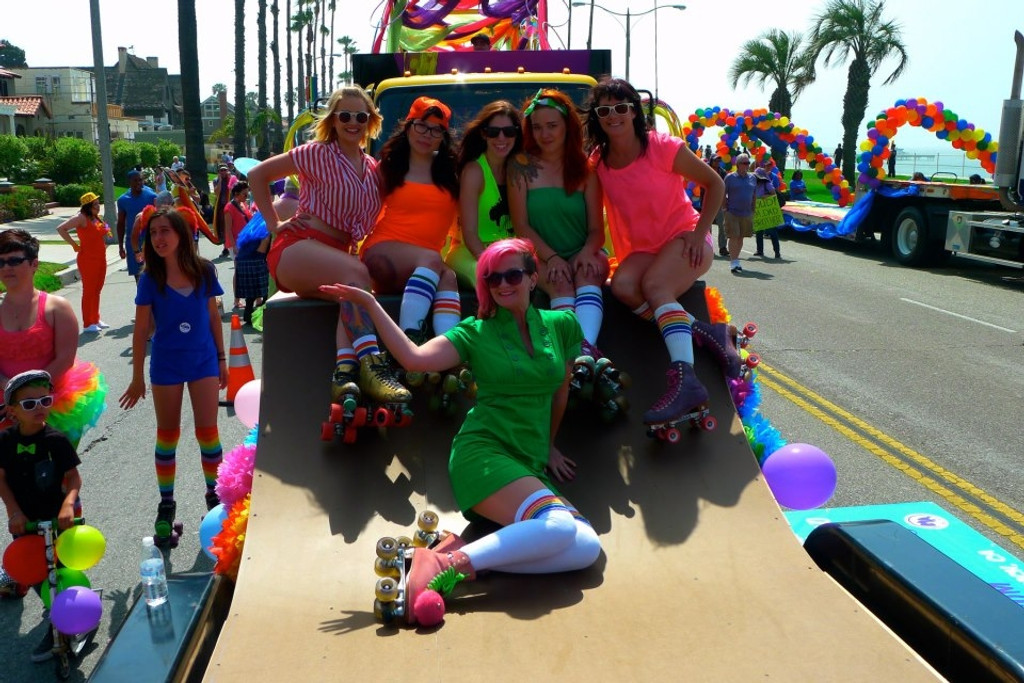hanging out with my moxie skate team besties at long beach pride all wearing our pride socks.  life is good.