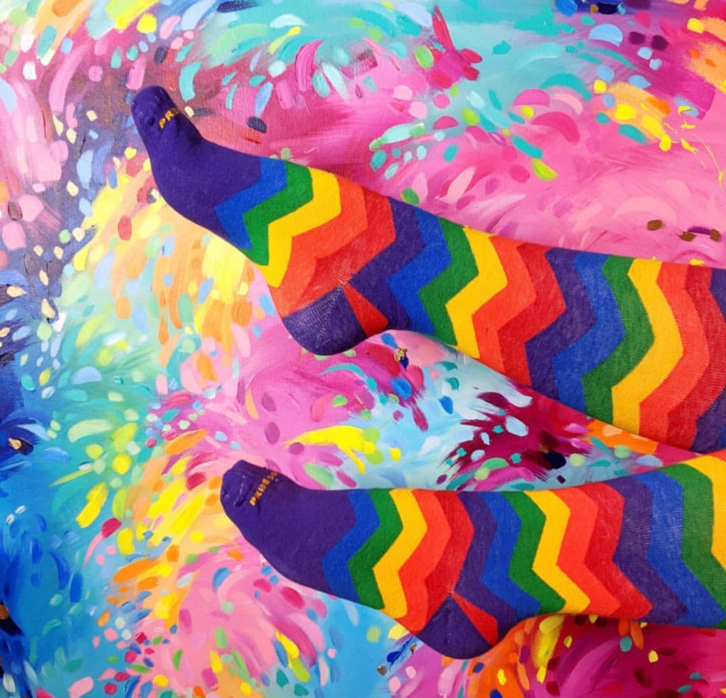 chevron pride socks and art go well together.