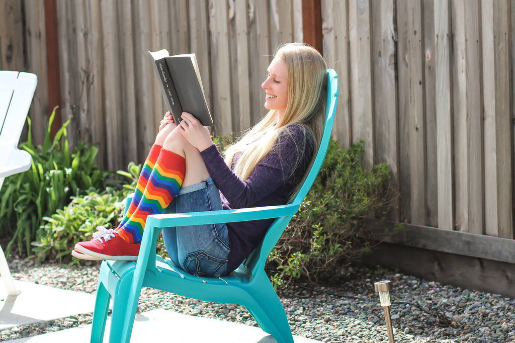 reading rainbow pride socks