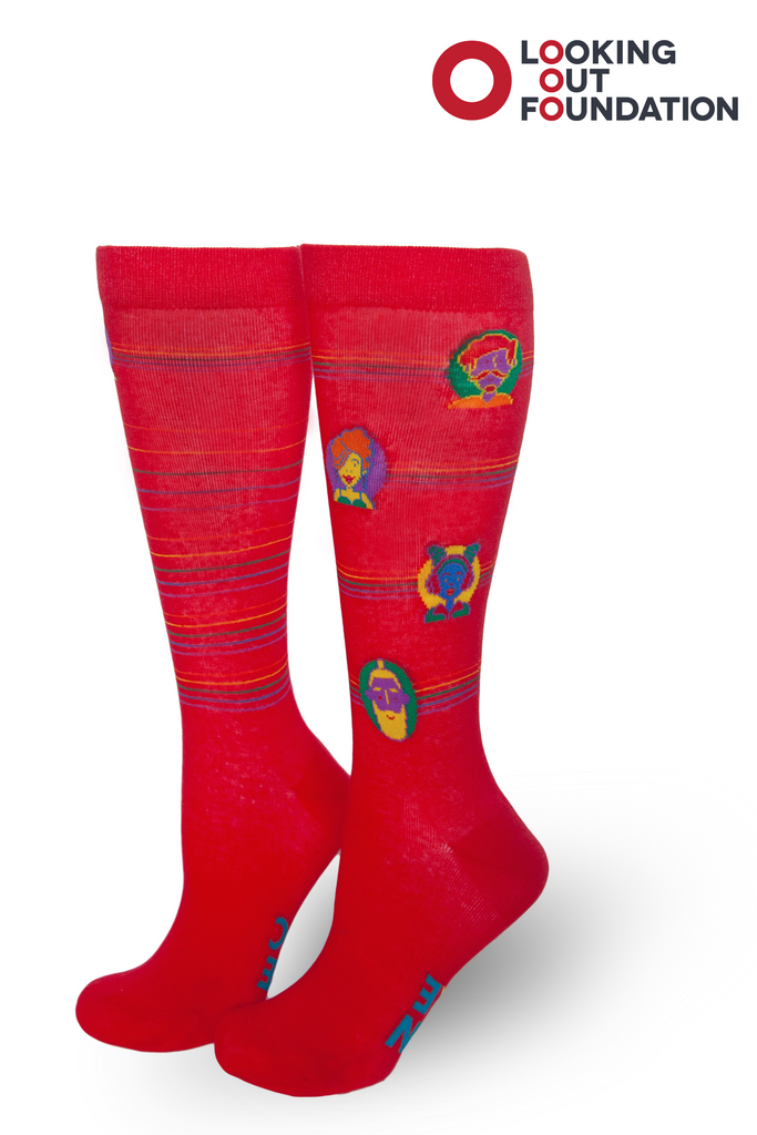 brandi carlile and pride socks collab with images of clients they serve on a sock for looking out foundation in both med and large