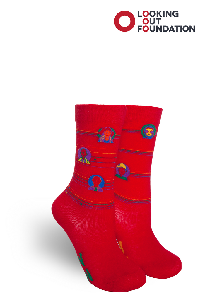 pride socks and brandi carlile collab and design a kids socks for the looking out foundation