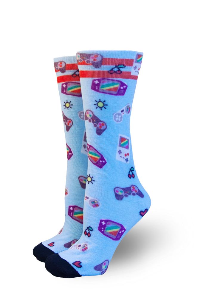 take on your gaymer or rainbow gaming pride socks to the next level when you enter the video game room.