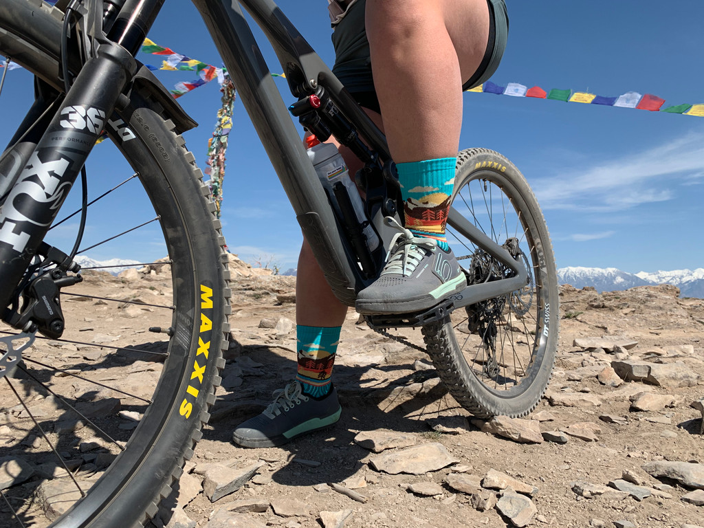 cruise around in your mountain socks while you are a trailblazer mountain biking in your custom for a cause pride socks