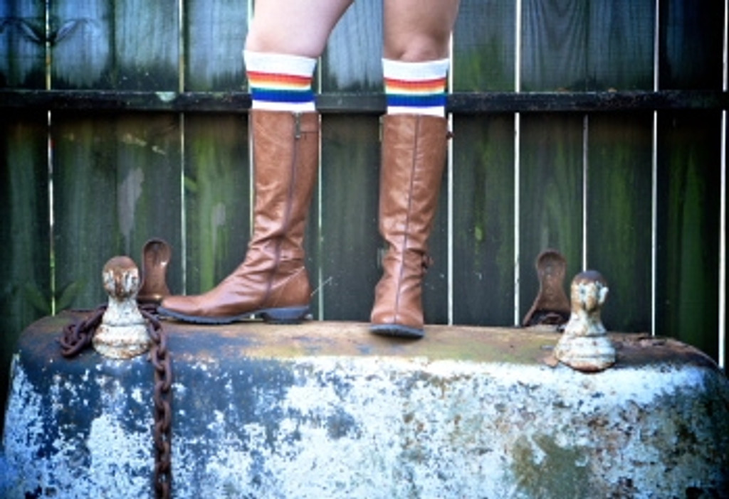 photo shoot in my pride socks look perfect as my boot socks.