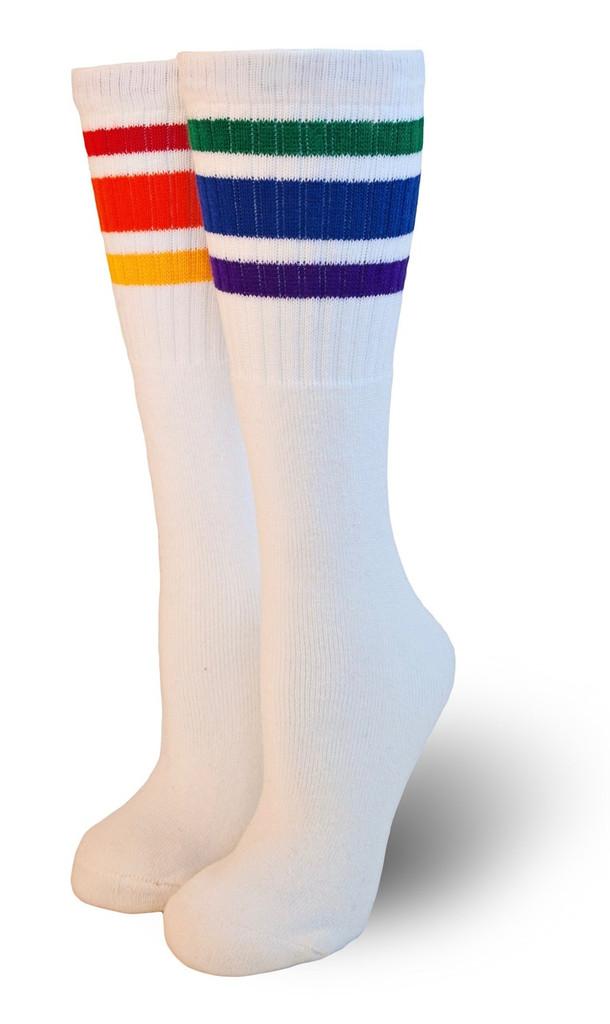 mismatch rainbow striped pride socks