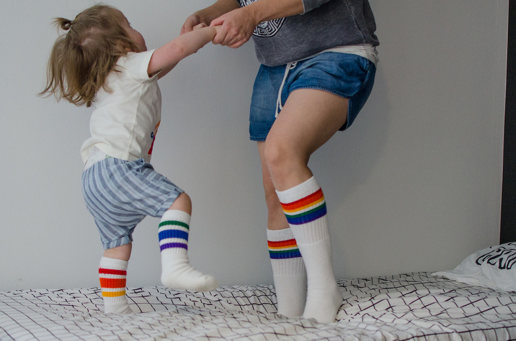 i love when my mom and i wear matching rainbow tube socks and we jump on the bed.