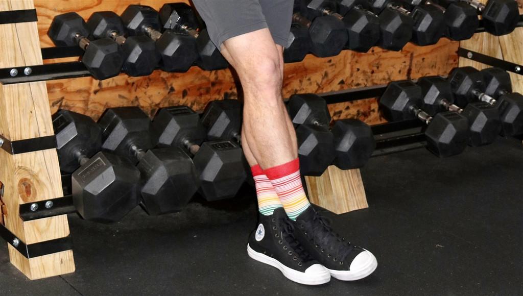 wearing my favorite pride socks business socks when i cross fit.