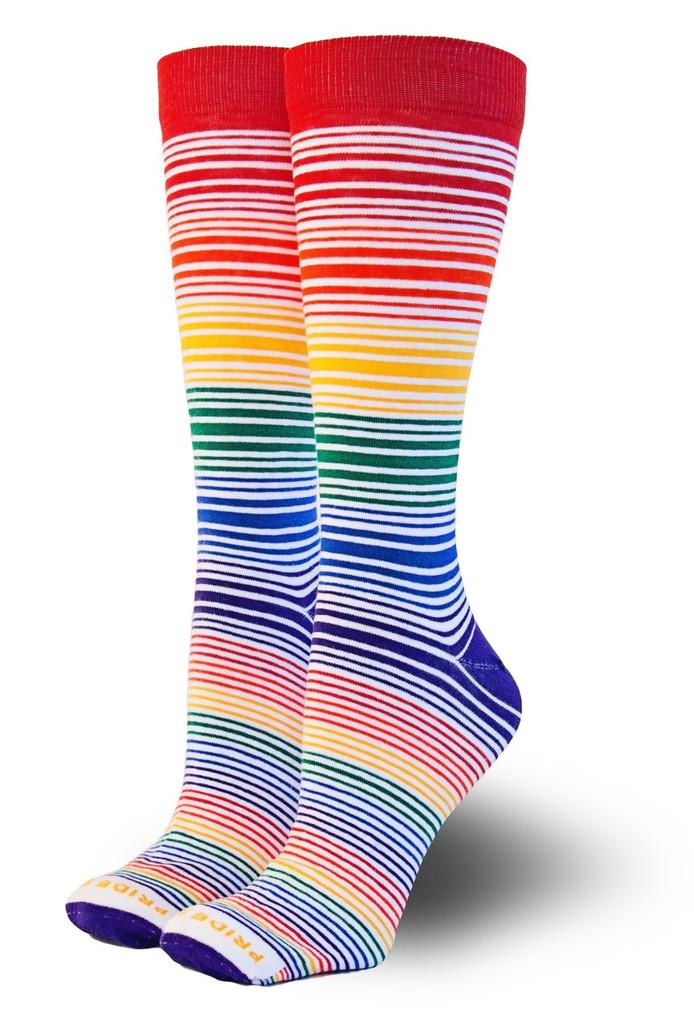 classic rainbow striped business socks