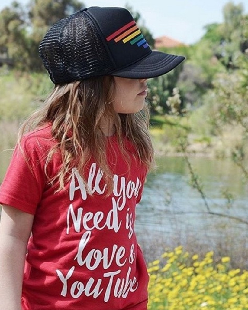 looking into the distance with your pride socks snap back youth hat