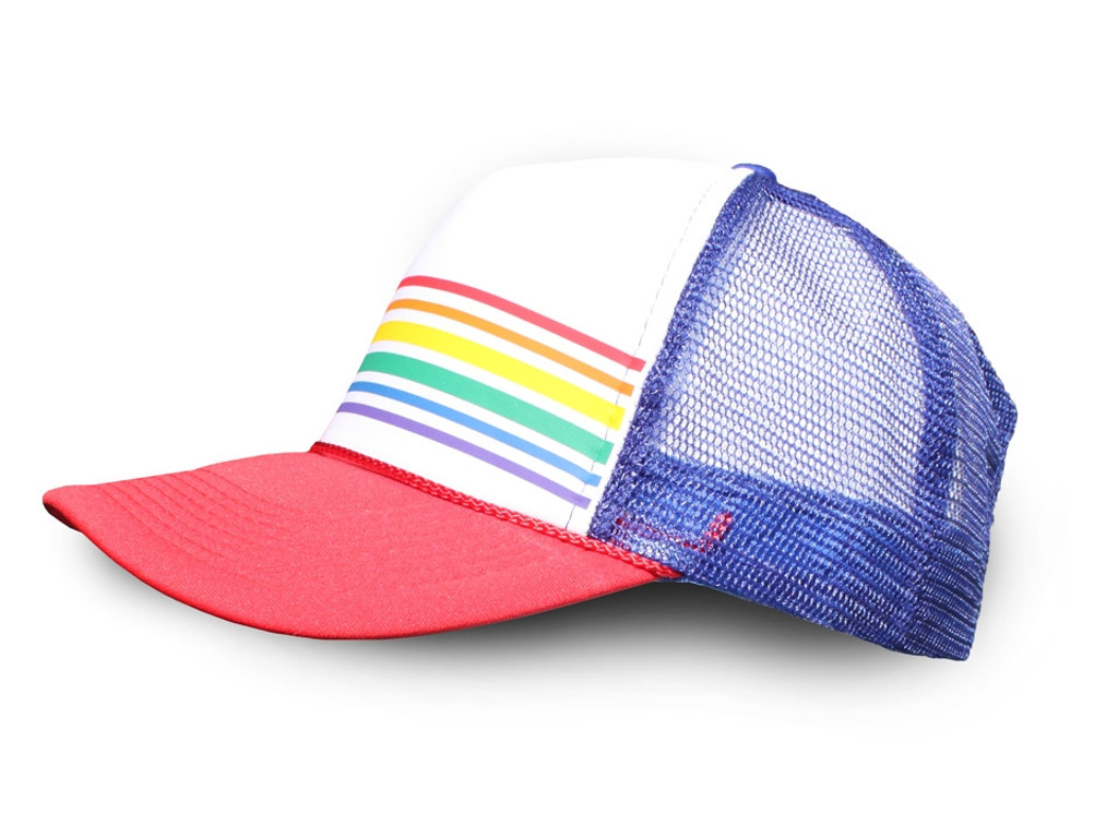 show off your pride with our classic red/blue snap back pride socks trucker hat