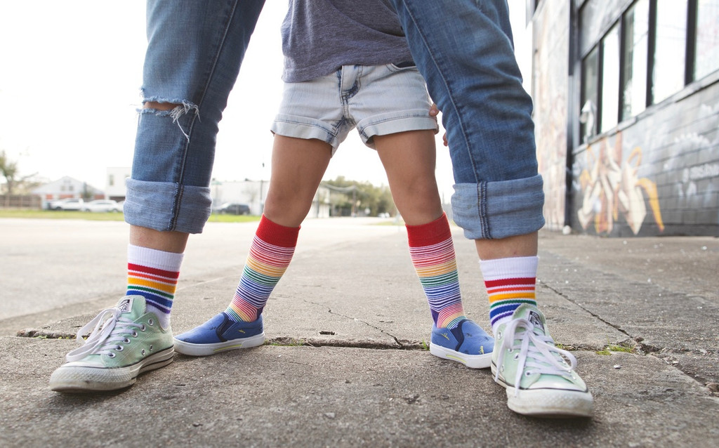 mom and daughter matching pride socks