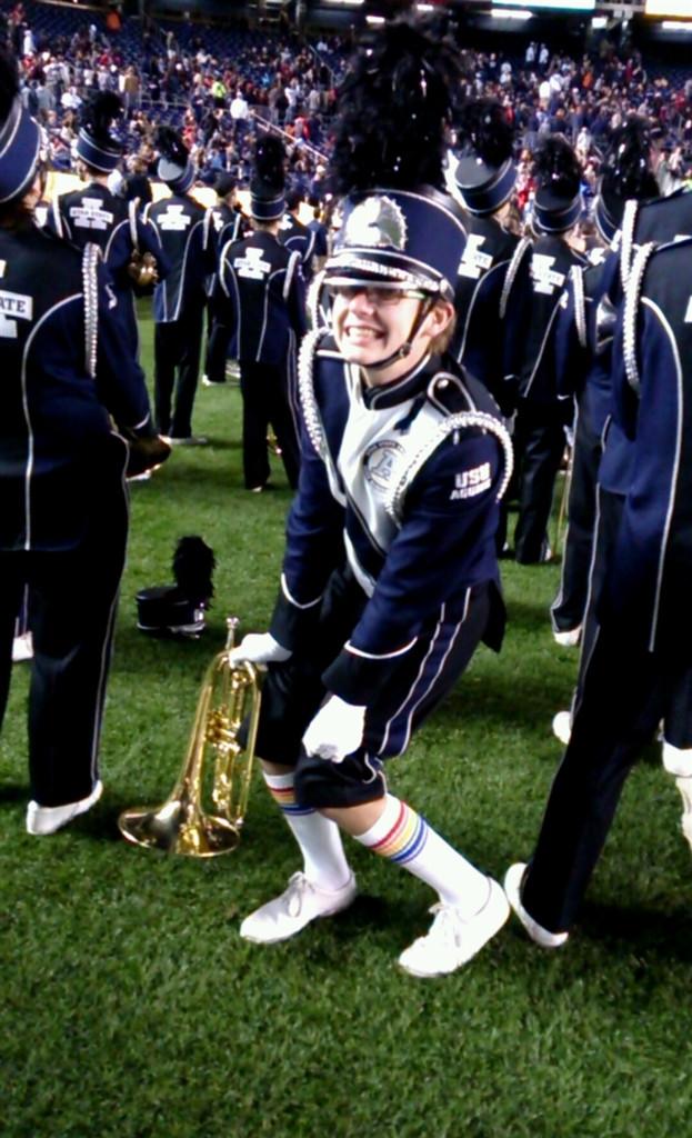 love when i get to play in the marching band in my pride socks