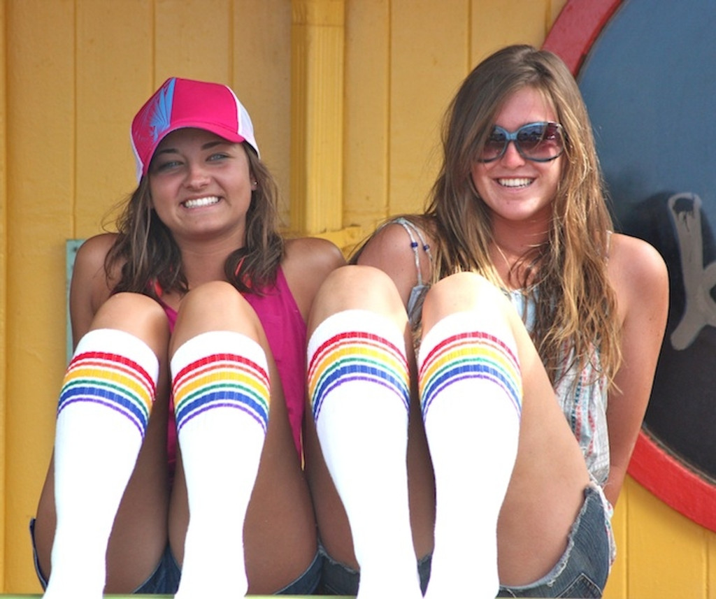 hanging out with my best friend in hawaii rocking out our retro pride socks
