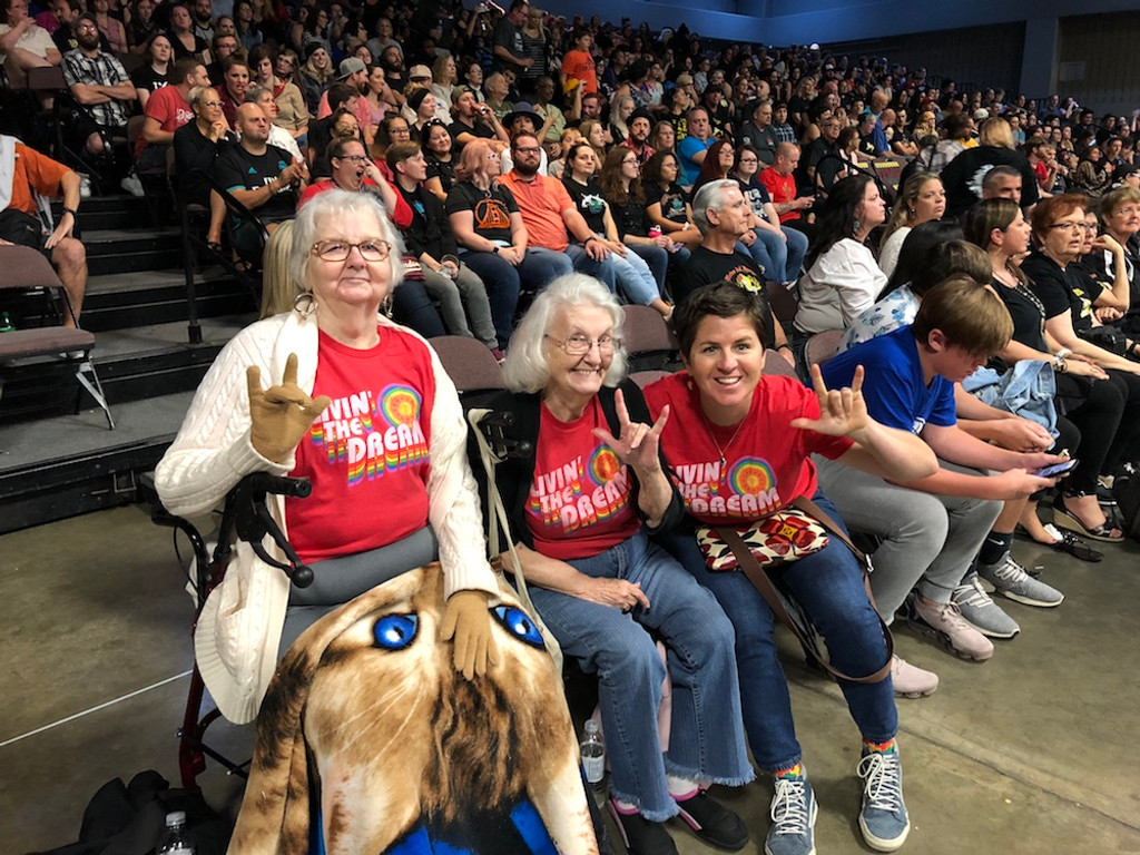 matching vintage rainbow pride socks living the dream shirts while at roller derby in austin, texas.