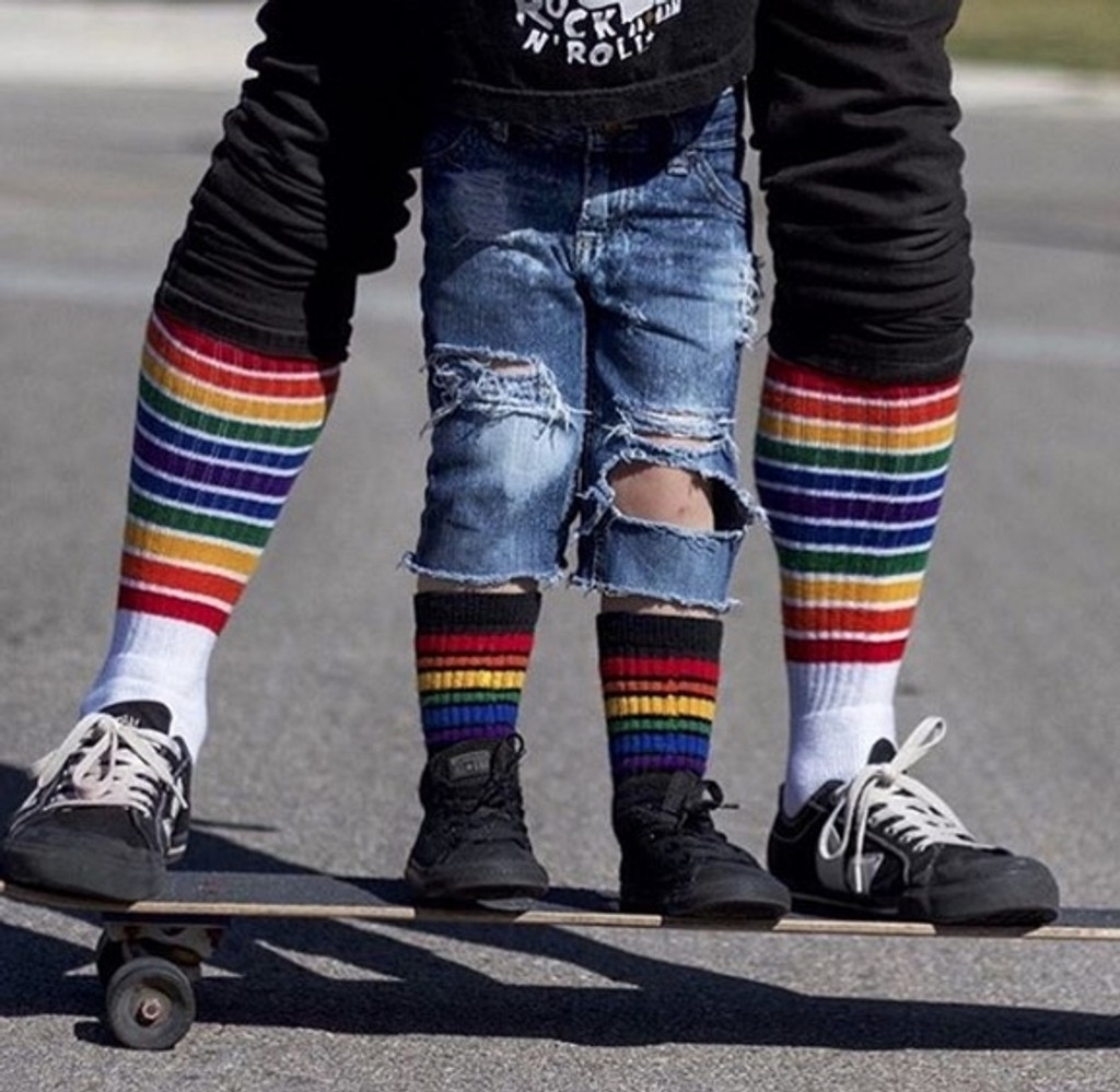 love matching my rainbow socks with my son.