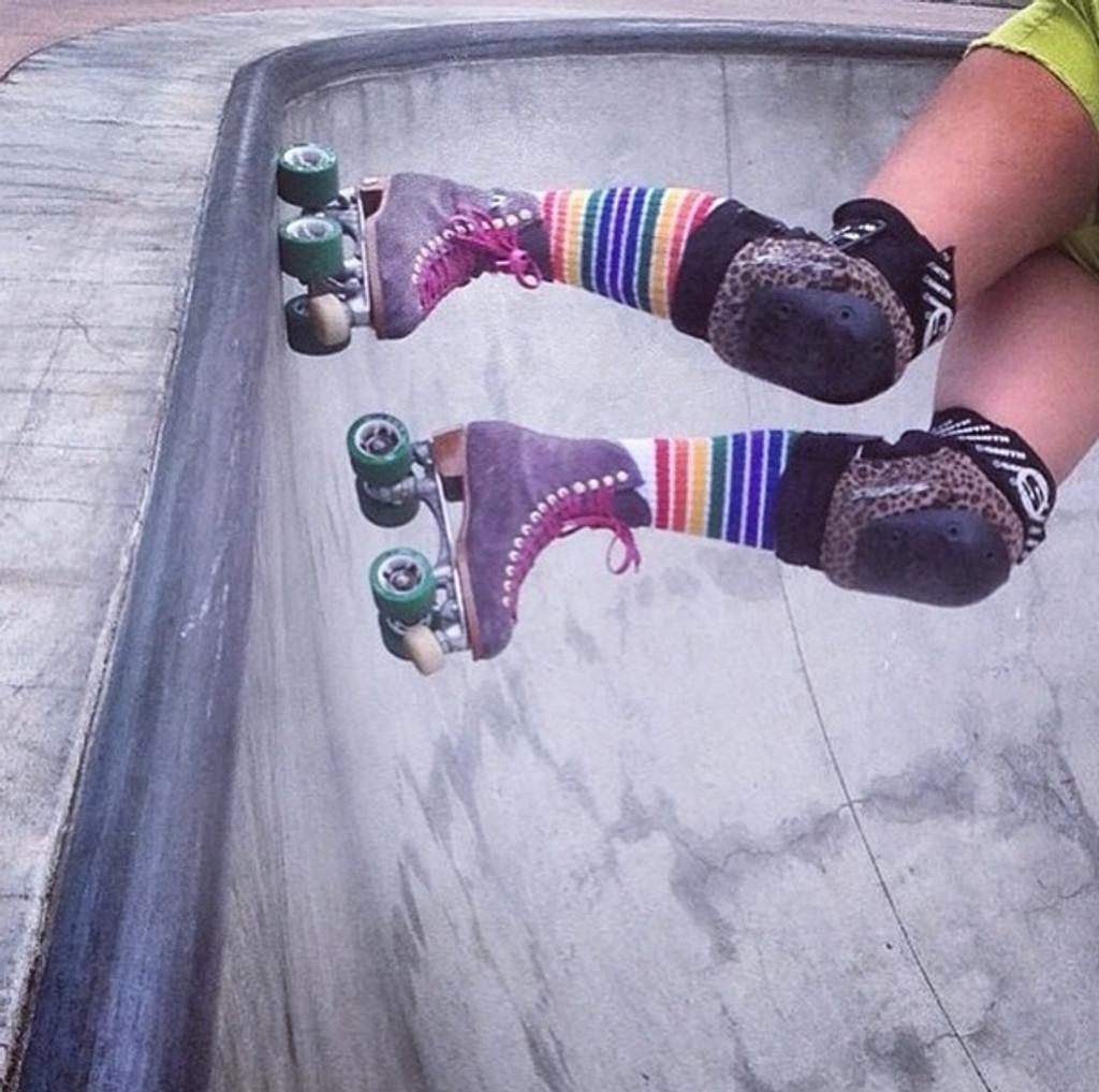 skating the bowl with my pride socks.