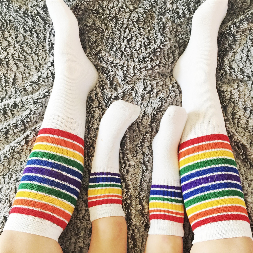 family matching socks is so in style.  get your own pair of pride socks to jump in the latest fashion trend.