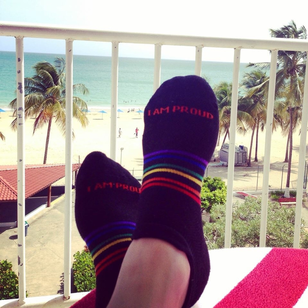 when you vacation, wear your pride socks.