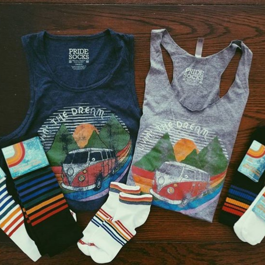 pair our pride socks with your best pride socks tank living the dream from austin texas