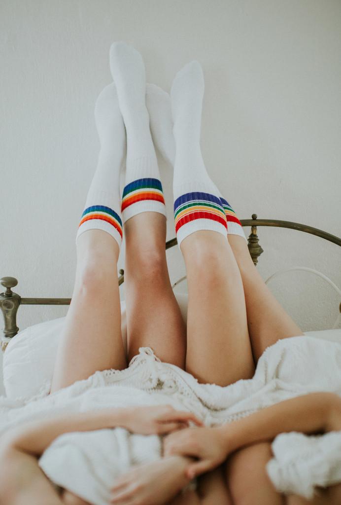 hanging out in our vintage pride socks