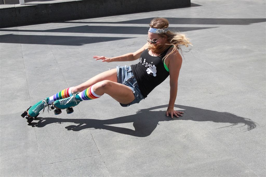 doing skate tricks in my fashionable pride socks