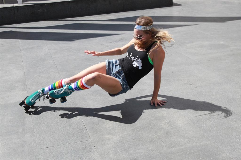 doing skate tricks in my fashionable pride socks