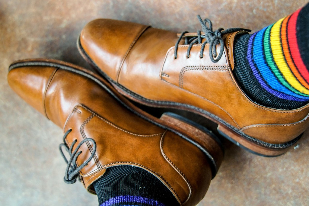 find comfort in your style with our rainbow striped pride socks