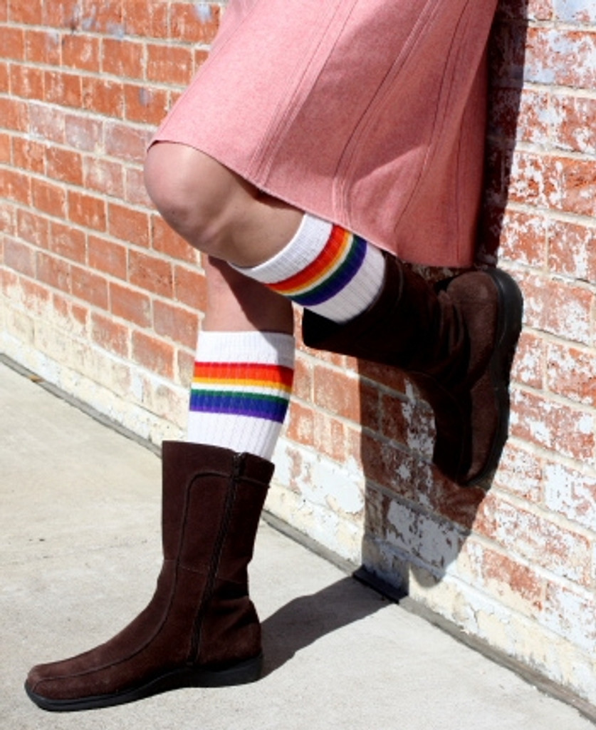 just chilling in my old school retro tube socks while I wait for the bus