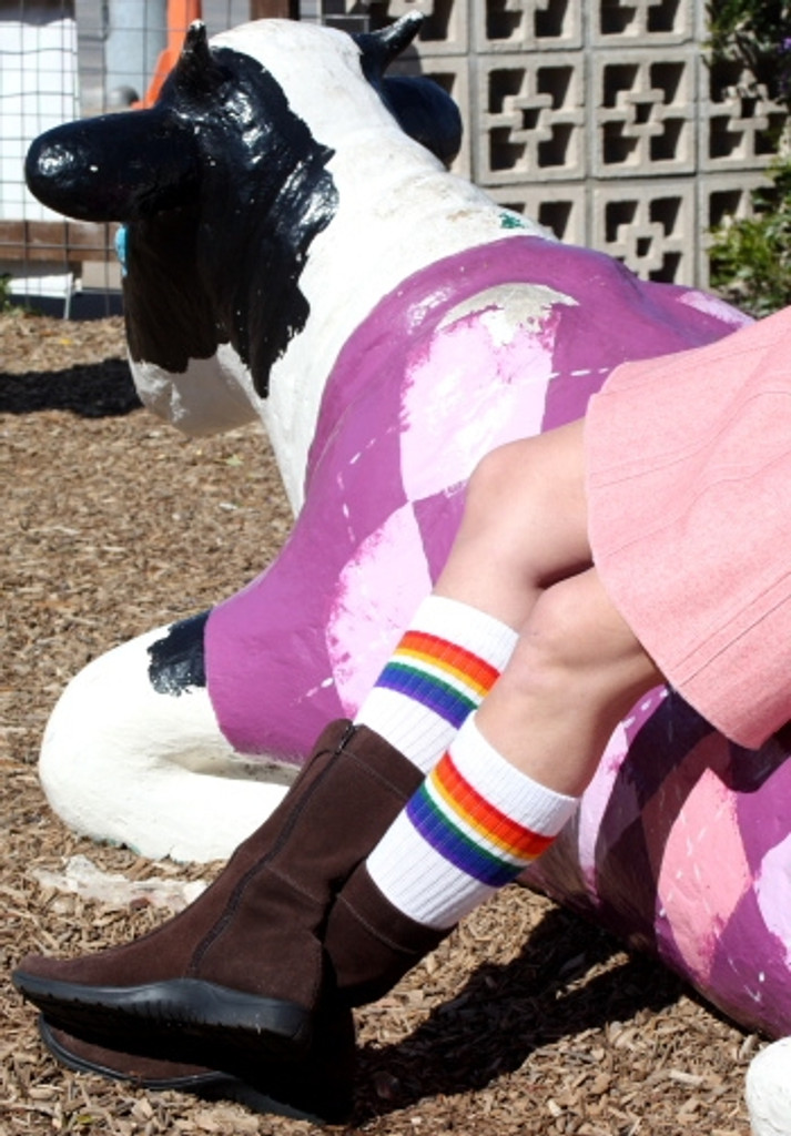 don't mind me, the cow loves hanging out as long as i have my retro pride socks on