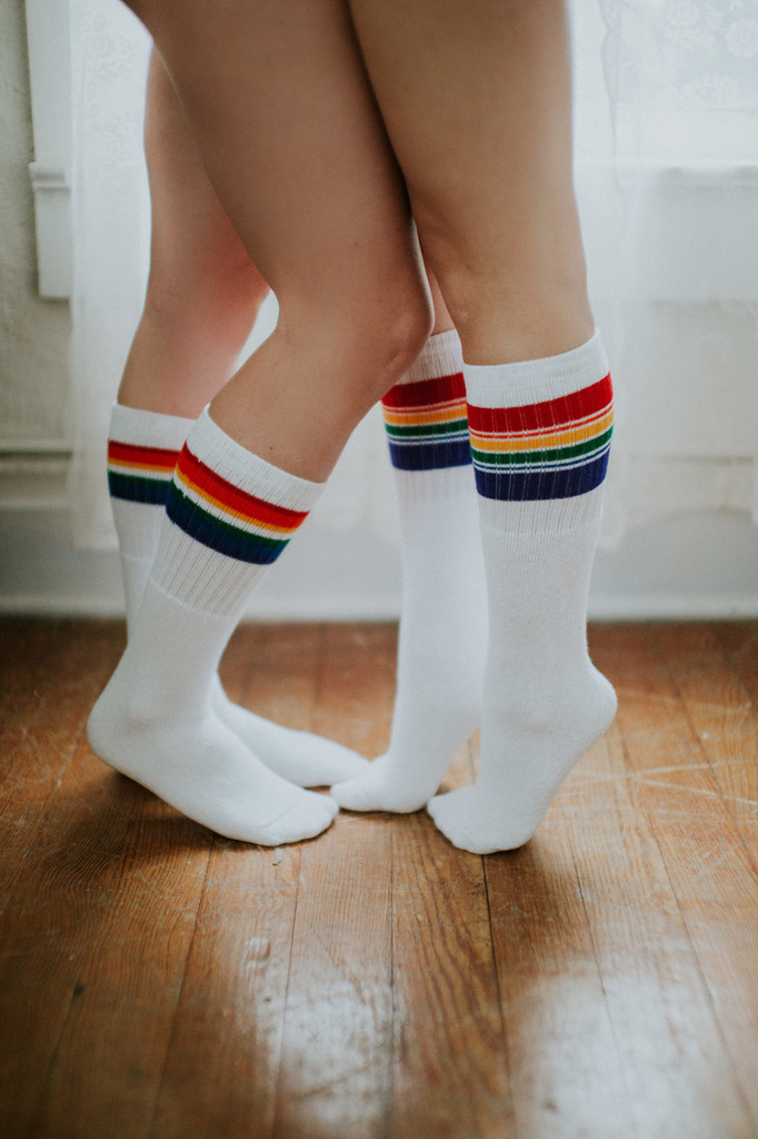 i love you more and more when you wear the same rainbow tube socks as me
