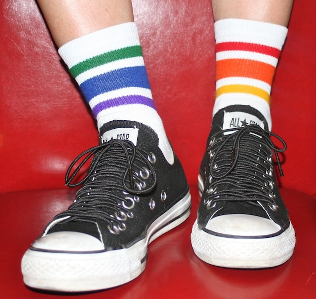 show off your mismatched athletic low cut pride socks any time of the week.