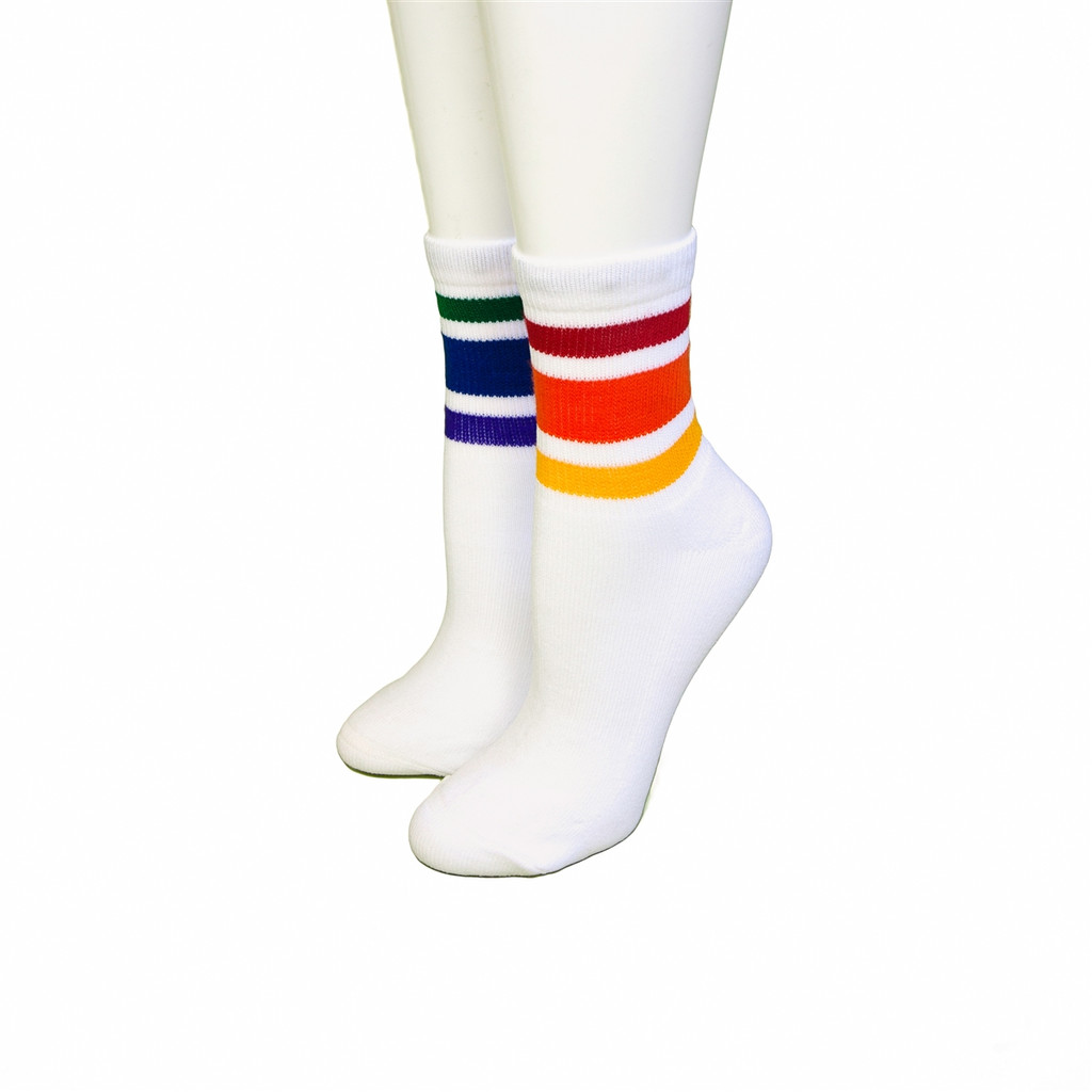 are you on your feet all day?  our mismatched athletic rainbow pride socks are perfect for you.