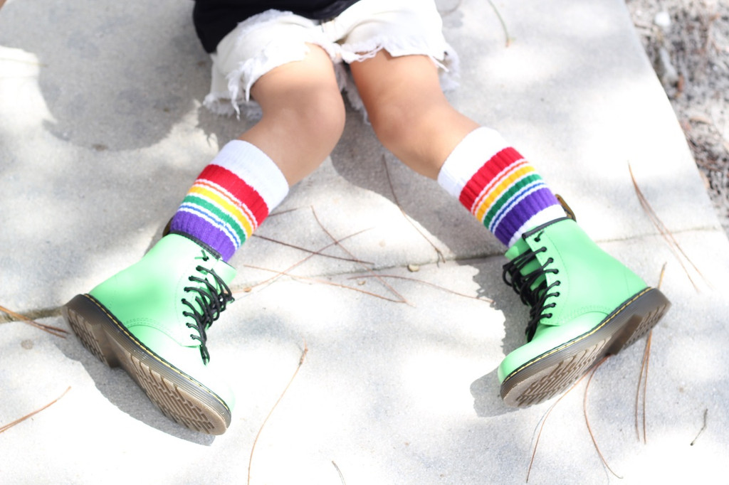 Where fashion meets the rainbow toddler tube sock