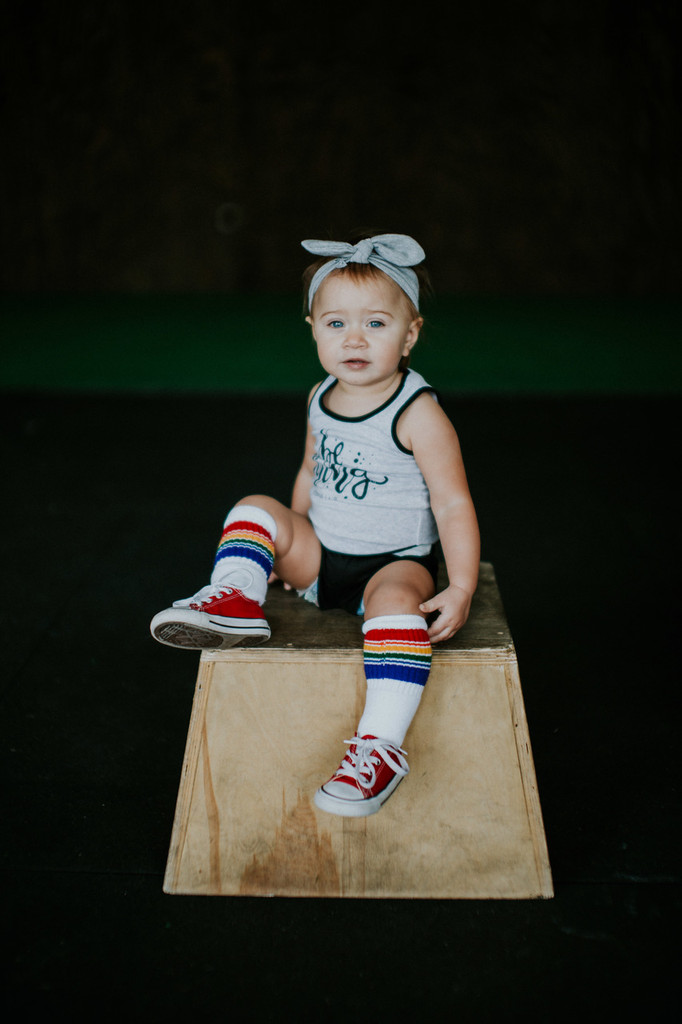 I will just sit right here while you take photos of me rocking out my retro pride socks