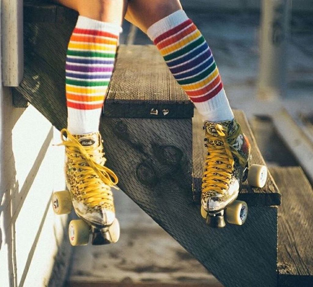 hanging out in my retro pride socks and my moxi skates