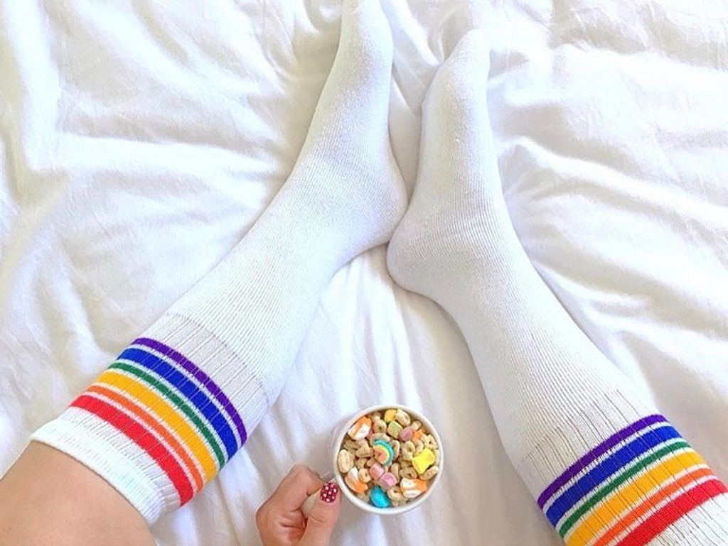 of course you eat lucky charms and wear pride socks in bed