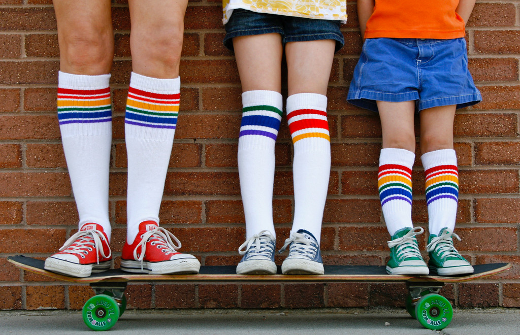 wear the same matching prides socks with your skating kids