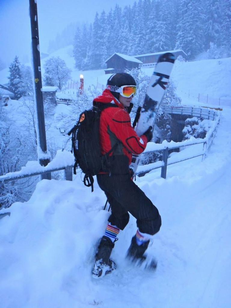 life is grand when skiing in my pride socks