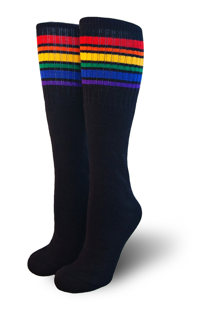 Black rainbow striped pride socks.  they look cool on everyone.  Sport our rainbow knee high pride socks with any outfit or while playing sports