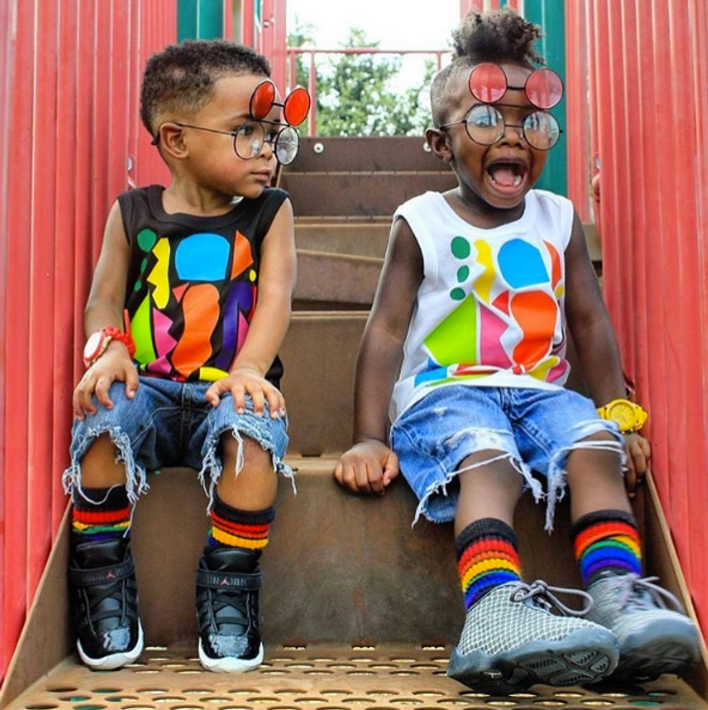best friends always have to twin it with their brave rainbow tube socks.