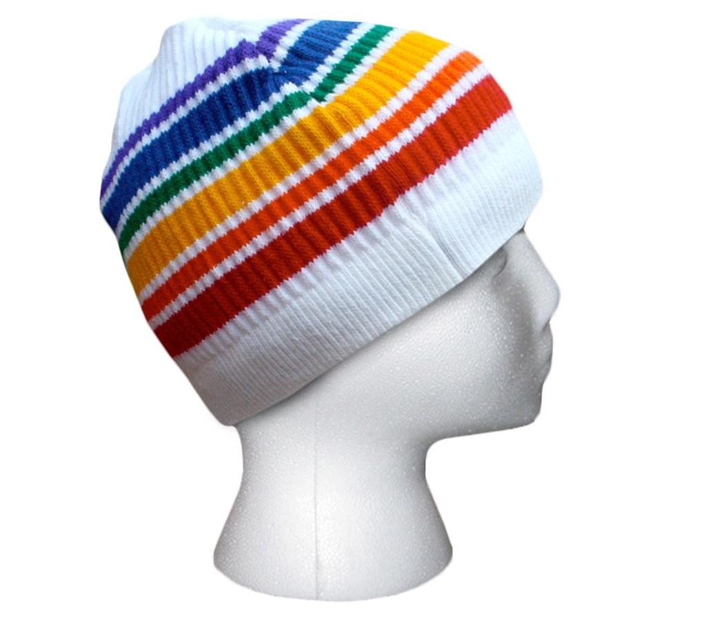 rainbow pride socks beanie looking cool