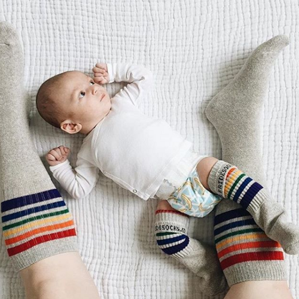 nothing more sweeter than you and your new born wearing all matching gray pride socks