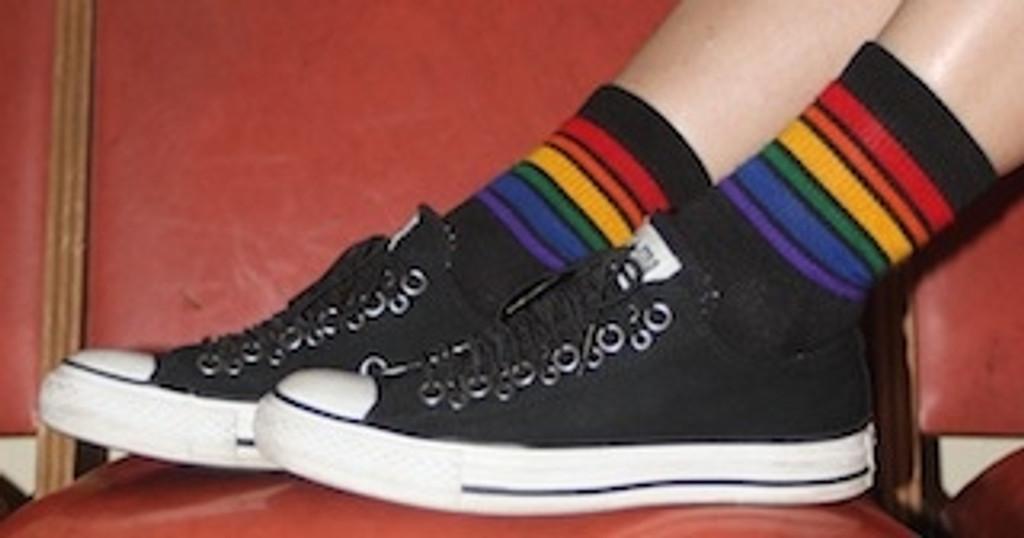 pride socks athletic socks are fashionable.