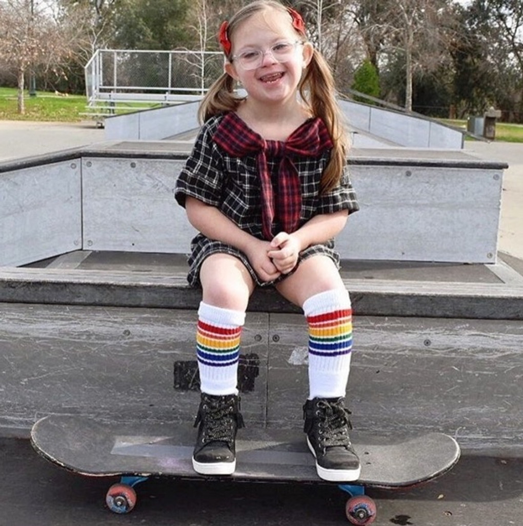 rocking the fearless rainbow tube socks