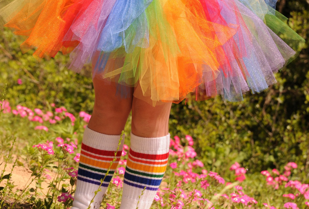 tutus go hand and hand with your rainbow tube socks.