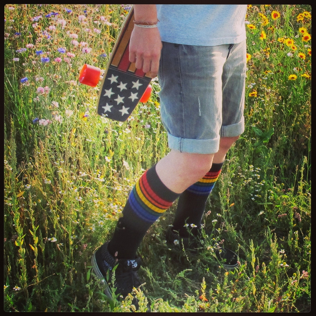 skateboard and pride socks go hand and hand.
