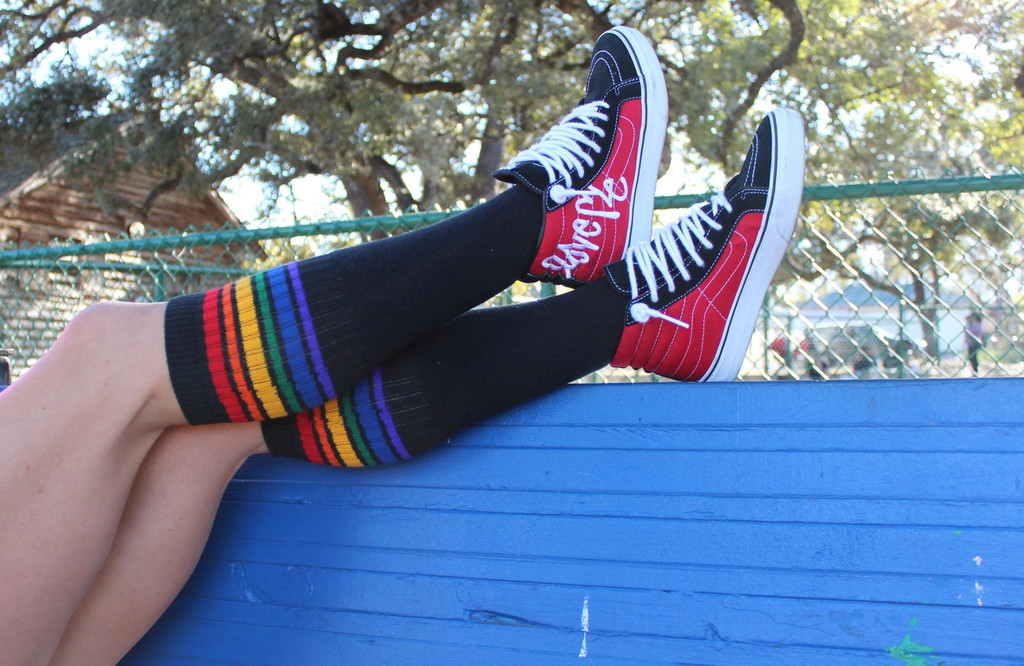 chilling out in the park with my vans and pride socks